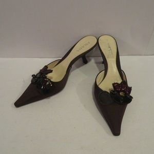 PRADA BROWN BEJEWELED BROWN FABRIC MULES 8